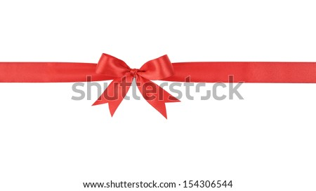 red handmade ribbon with bow, isolated on white - stock photo