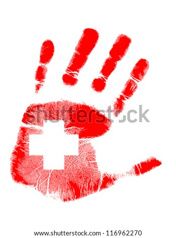 red handprint with a cross inside illustration design - stock photo