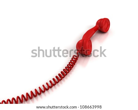 Red Handset with spiral wire on white background - stock photo