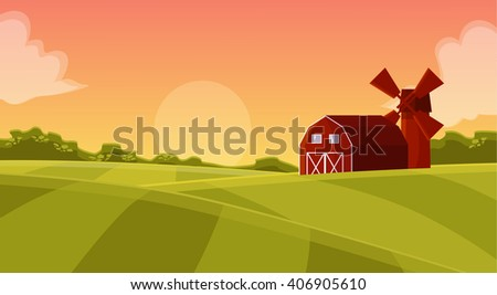 Red hangar at farmers field to mill on agricultural land, natural landscape with green field, sunset with a red hangar farm cartoon illustration,farm field, farm land, fields and hangar field and mill - stock photo
