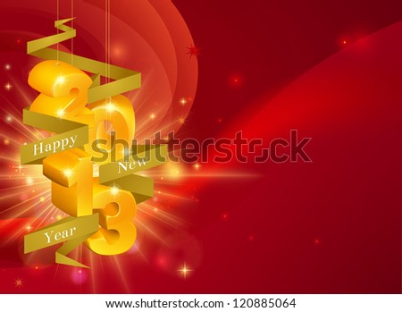 Red Happy New Year 2013 decorations background with ribbon saying Happy New Year and gold decorations reading 2013