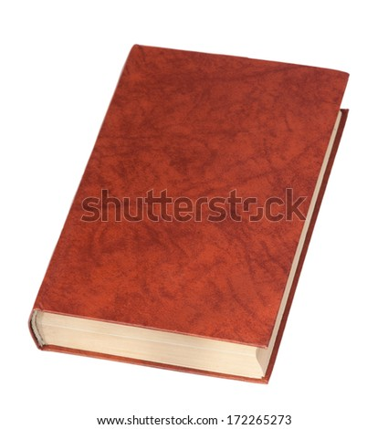 red hardcover book isolated on white background