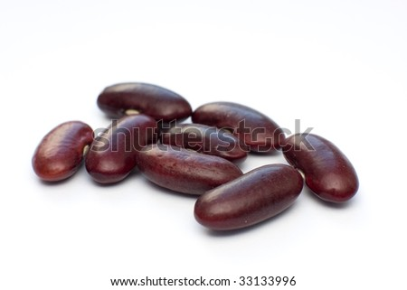 Red haricot beans isolated on white - stock photo