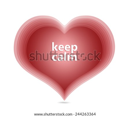 red harts keep calm message symbol love card text - stock photo