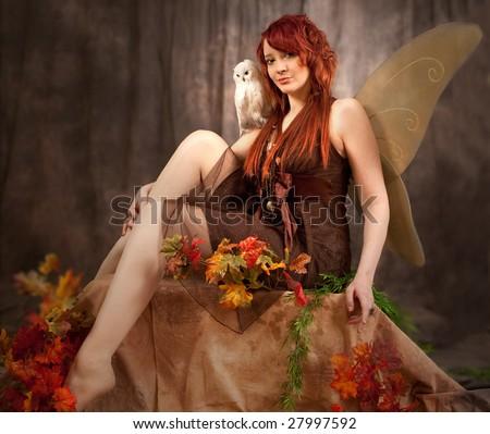 Red Head Beauty Fairy - stock photo