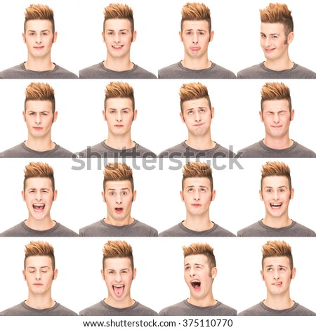 red head casual young caucasian man collection set of face expression like happy, sad, angry, surprise, yawn isolated on white - stock photo