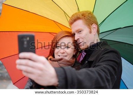 Red head couple in love