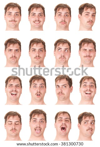 red head mustache young caucasian man collection set of face expression like happy, sad, angry, surprise, yawn isolated on white - stock photo