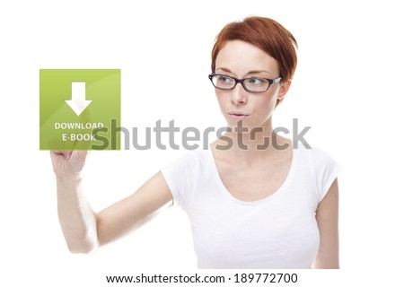 Red head women touching the download e-book on white background