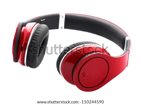 Red headphones isolated on a white background - stock photo