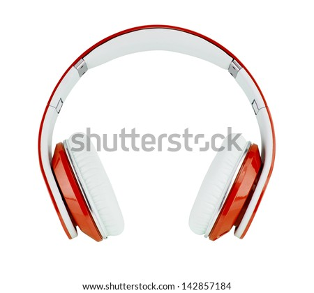Red headphones on white background - stock photo