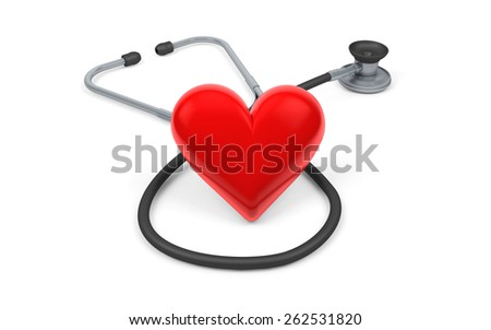 Red heart and a stethoscope isolated with clipping path on white - stock photo
