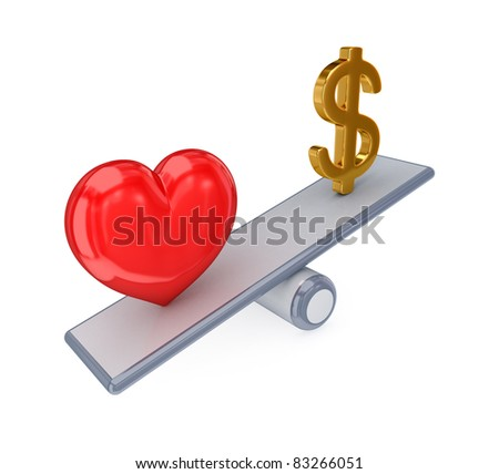 Red heart and dollar sign on simple scales. 3d rendered. Isolated on white background. - stock photo