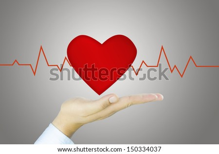red Heart and graph on Human hand