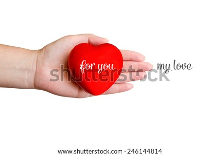 Red heart and hand with love text - stock photo
