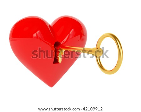 red heart and key on white - stock photo