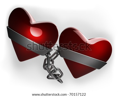 Red heart and silver chain isolated on white 3d render