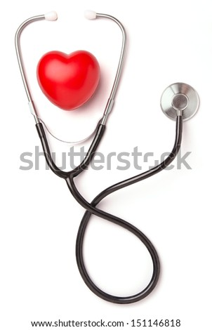 Red heart and stethoscope isolated on white background - stock photo