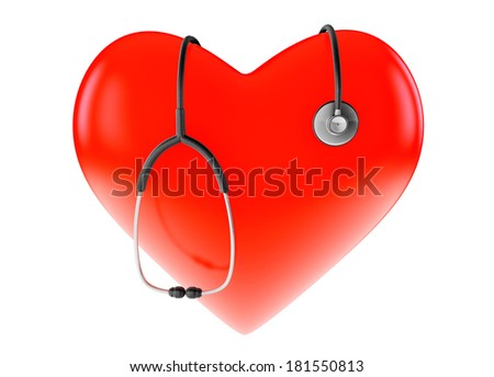 Red heart and stethoscope on a white background