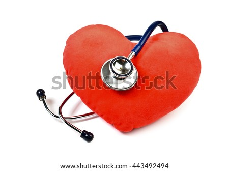 Red heart and stethoscope on white - stock photo