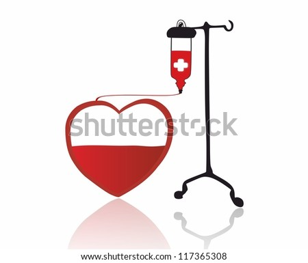 red heart and transfusion - stock photo