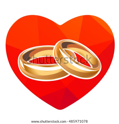 Red heart and wedding rings isolated on a white background.