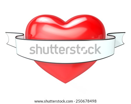 Red heart and white, blank ribbon. 3D render illustration, isolated on white. - stock photo