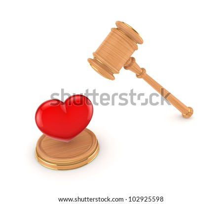 Red heart and wooden hammer.Isolated on white background.3d rendered. - stock photo