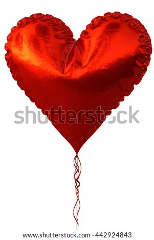 Red heart balloon isolated on white background. 3D illustration.