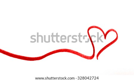 red heart banner - stock photo