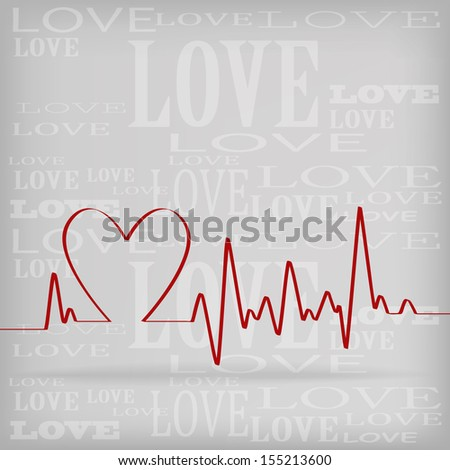 Red Heart Beats Cardiogram on White background - jpg version - stock photo