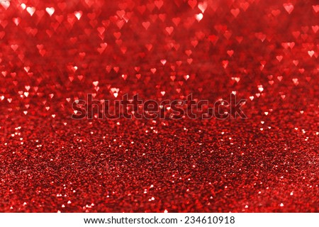 Red heart bokeh background, Valentines day design - stock photo