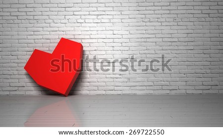 Red heart brick wall loft, 3d illustration - stock photo