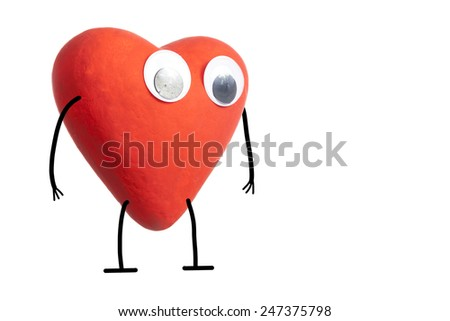 Red heart character isolated on white background - stock photo