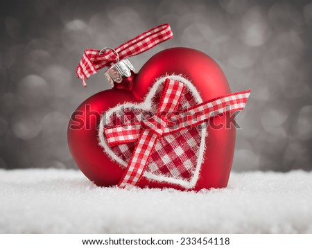 Red heart Christmas decorations