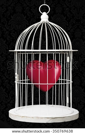 Red heart closed in a metal cage - stock photo