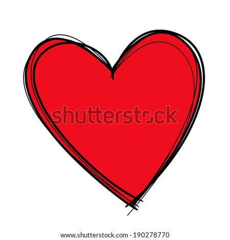 Red heart drawn with black lines and filled in with deep red. - stock photo