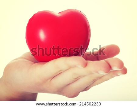Red heart held on a female's hand. Isolated on white.