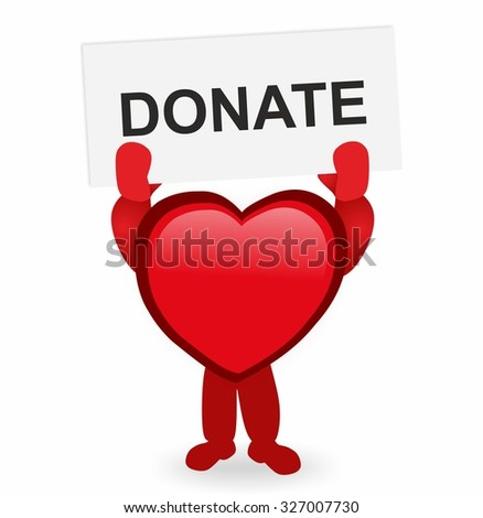 red heart holding a sign donate - stock photo