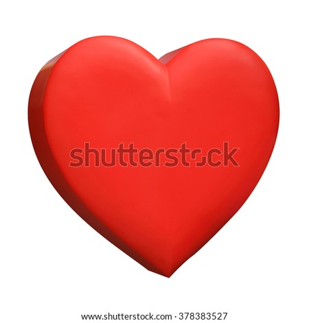 Red heart icon illustration isolated on white background.
