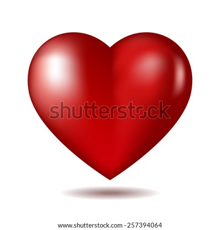 Red heart icon isolated on white.  - stock photo