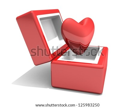 Red heart in a red box with love