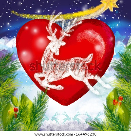 Red heart in a snowy night, illustration - stock photo