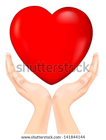 red heart in hand. Rasterized illustration. Vector version in my portfolio