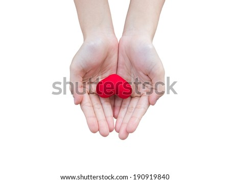 Red heart in human hands - stock photo