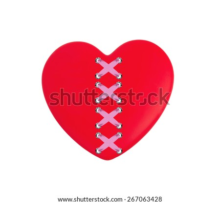 Red heart isolated on white background - stock photo