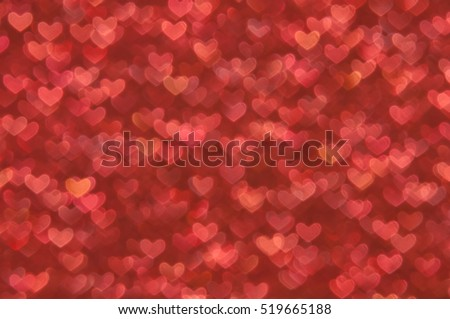 red heart lights abstract background