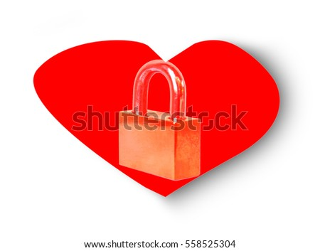 Red heart lock isolated on background