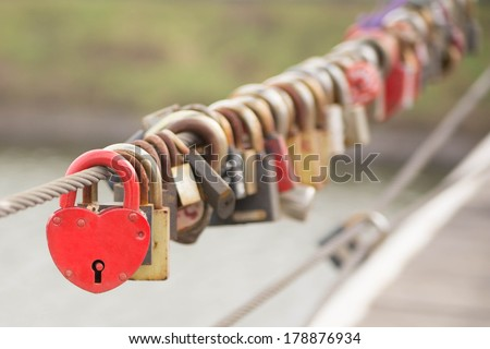 Red Heart Lock Romance Love - stock photo