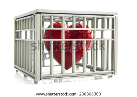 Red heart locked up in a cage